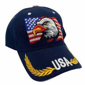 USA Flag American Patriotic 3D Baseball Hat Blue